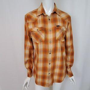 Bullhead Orange Plaid Flannel Long Sleeve Shirt